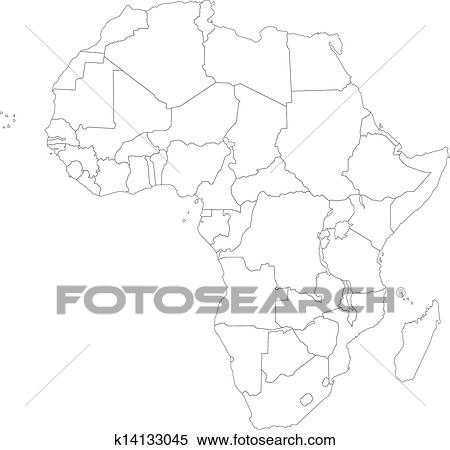 Outline Of Africa Map.Clipart Of Outline Africa Map K14133045 Search Clip Art
