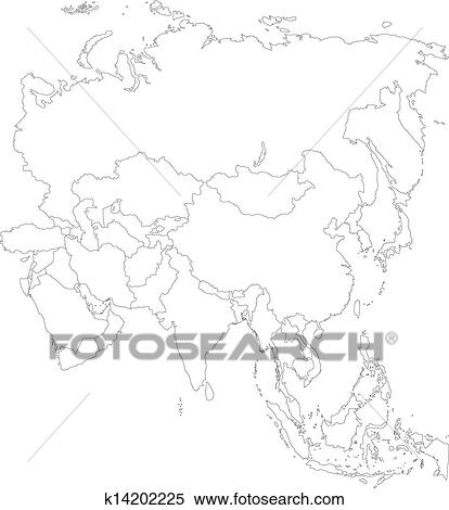 Outline Asia map Clipart | k14202225 | Fotosearch