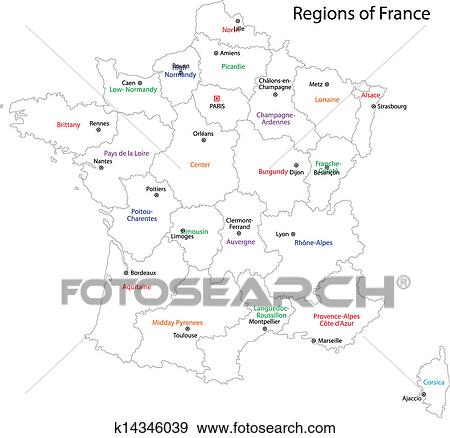 Clip Art Of Outline France Map K14346039 Search Clipart