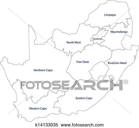 Outline Of Africa Map.Clipart Of Outline South Africa Map K14133035 Search Clip Art