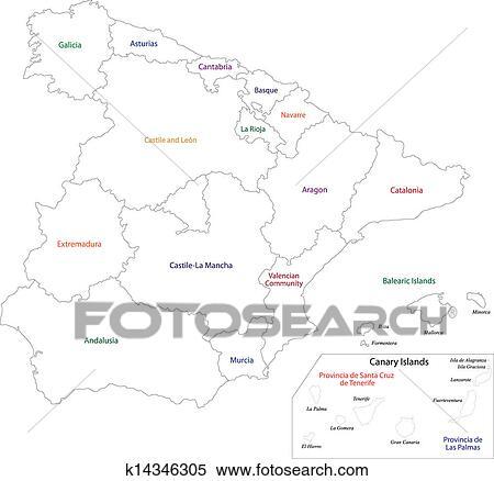 Outline Spain Map Clipart K14346305 Fotosearch