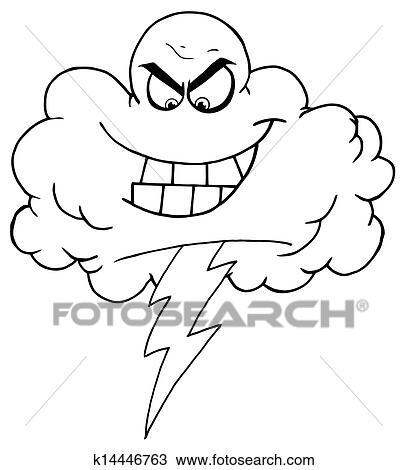 Black And White Evil Lightning Storm Cloud