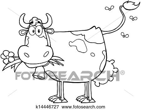 Clip Art Of Outlined Dairy Cow With Flower K14446727