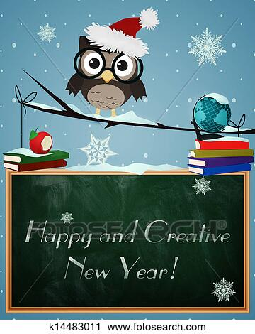 clipart owl happy and creative new year fotosearch search clip art illustration
