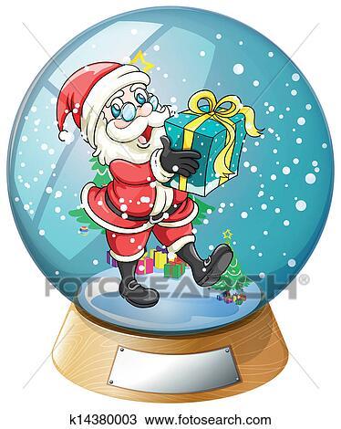 P re no l tenir cadeau int rieur les boule neige clipart k14380003 fotosearch - Boule de noel en anglais ...