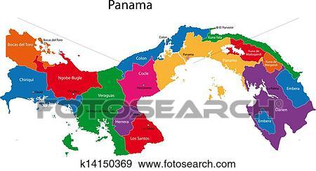 Panama Landkarte Clip Art K14150369 Fotosearch