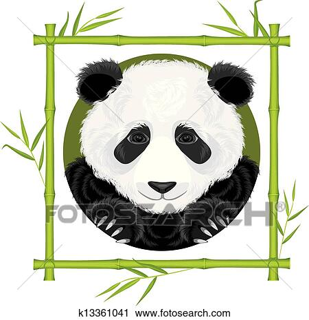 Clipart Of Panda In The Bamboo Frame K13361041 Search Clip Art