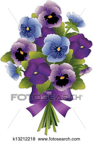Clip Art of Pansy Flower Bouquet k13212218 - Search ...