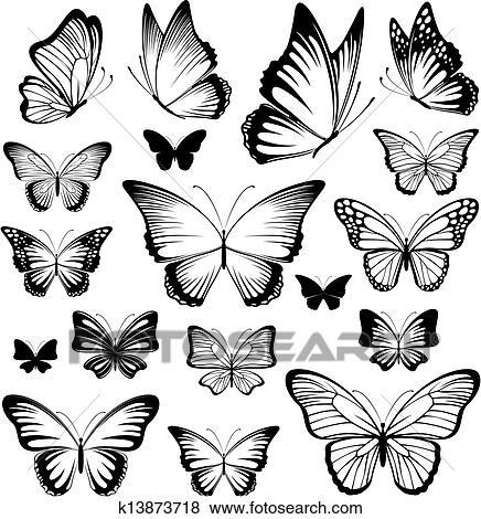Dessin Papillon Tatouage clipart - papillon, tatouage, silhouettes k13873718 - recherchez des