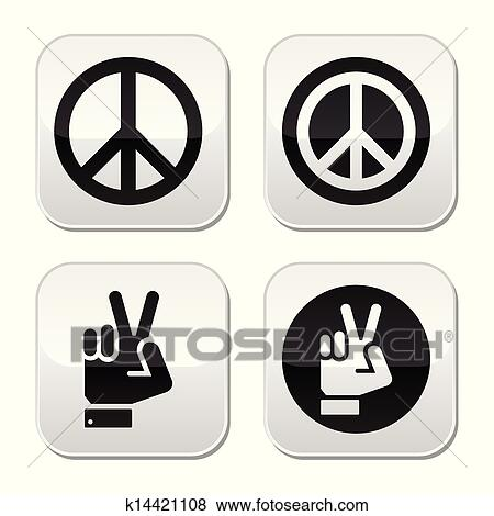 peace hand gesture vector buttons clip art k14421108 fotosearch fotosearch
