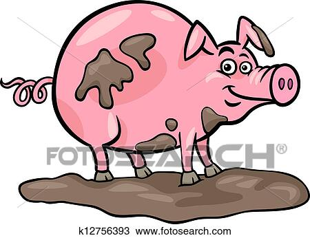 Cartoon Illustration Of Funny Pig Farm Animal In Mud