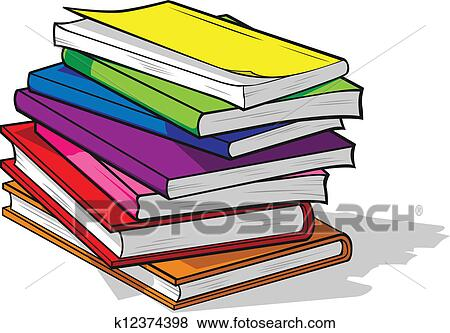 Clip Art of Pile of Colorful Books k12374398 - Search Clipart ...