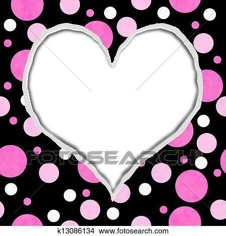 pink and black polka dot torn background for your message or invitation with copy space in shape of heart picture k13086134 fotosearch fotosearch
