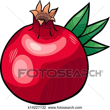 clipart of pomegranate fruit cartoon illustration k14227132 search rh fotosearch com pomegranate clipart black and white pomegranate clipart outline