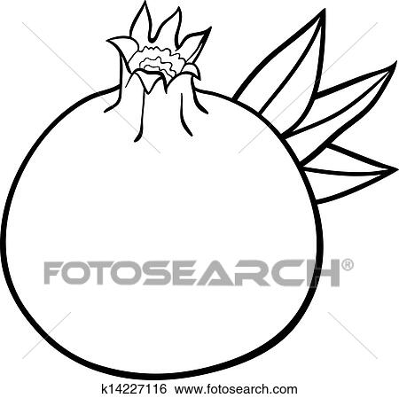 clip art of pomegranate fruit for coloring book k14227116 search rh fotosearch com pomegranate clipart black and white pomegranate clipart png