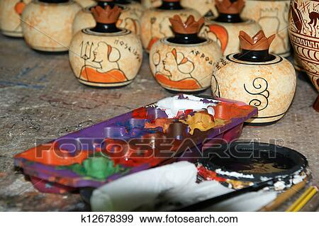 Stock Photograph Of Pottery By Making Copies Of Ancient Greek Vases