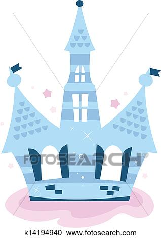 Princess Sky Castle Isolated On White Blue Clipart
