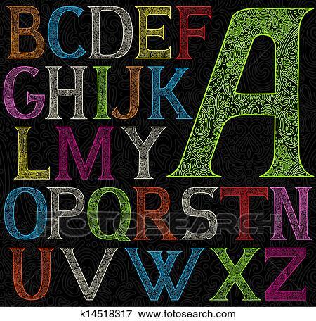 Alphabet Psychédélique clipart - psychédélique, couleur acide, alphabet k14518317