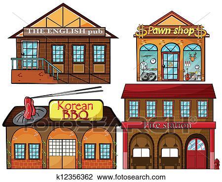 Clipart pub anglais cor en restaurant pawnshop et - Dessin caserne pompier ...