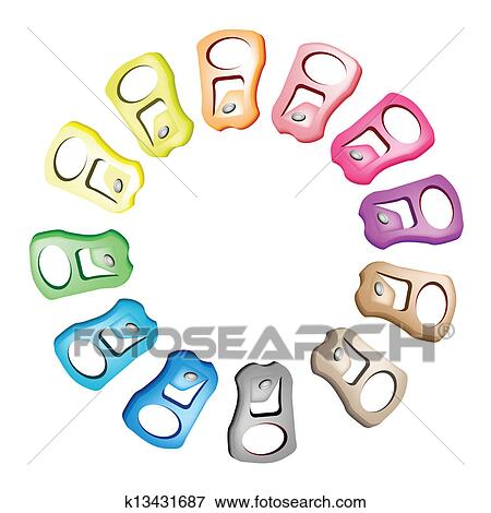 Clip Art Of Pull Ring With Recycle Theme For Save The Green World