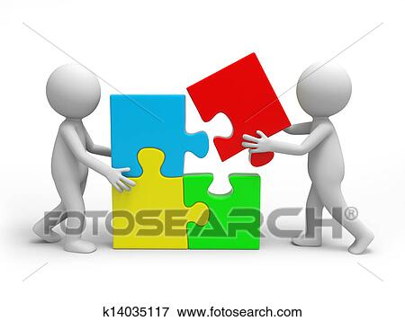 Two 3d People Solving The Puzzle Together