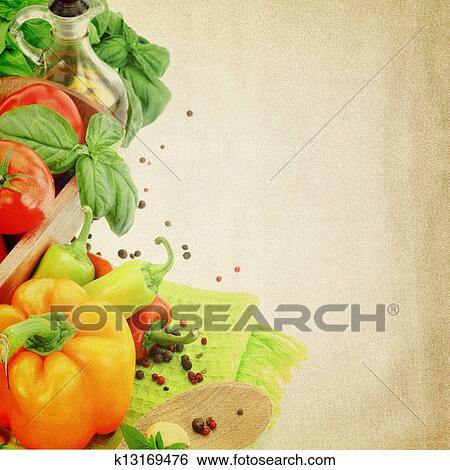 stock images of recipe template fresh vegetables on fabric texture