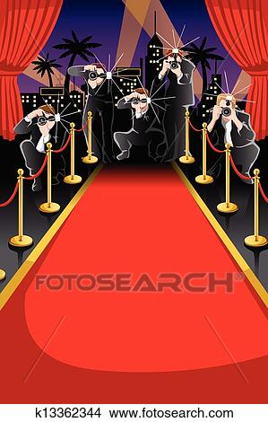 Clipart Of Red Carpet And Paparazzi Background K13362344