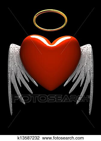 Stock Photo Of Red Heart Angel With Wings Isolated On Black