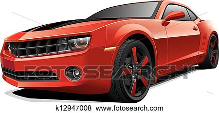 Clip Art Of Red Muscle Car K12947008 Search Clipart Illustration