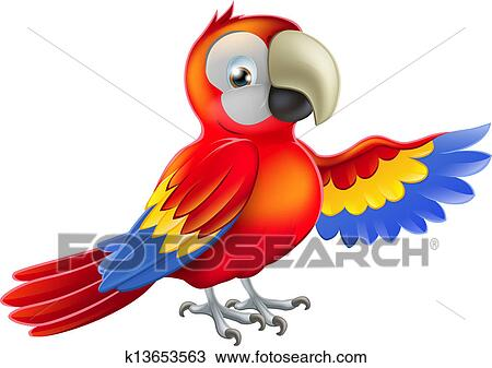 clipart of red pointing cartoon parrot k13653563 search clip art rh fotosearch com macaw clip art free macaw clip art free