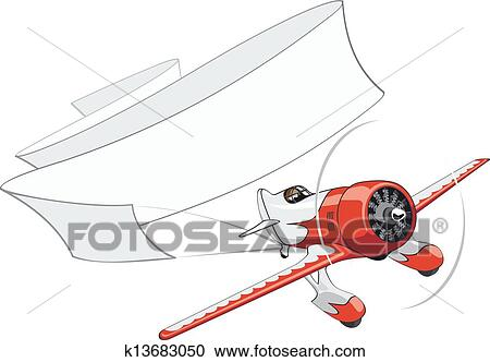 Retro Airplane With Blank Banner Clipart K13683050 Fotosearch
