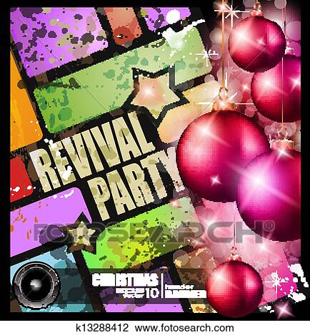 Christmas Disco Clipart.Revival Party Flyer For Christmas Event Clipart