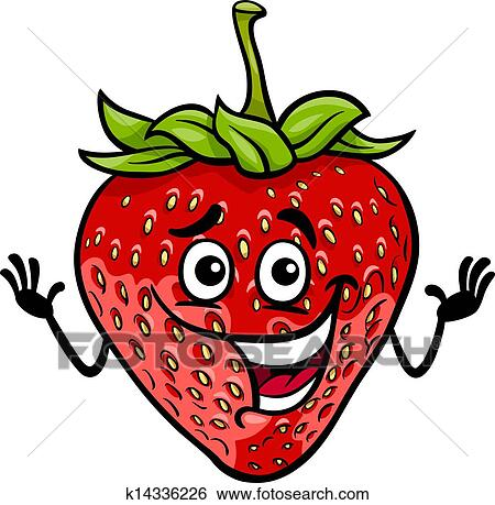 Fruit Dessin clipart - rigolote, fraise, fruit, dessin animé, illustration