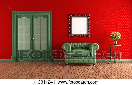 Clipart Rot Grun Altmodisch Zimmer K13311241 Suche Clip Art
