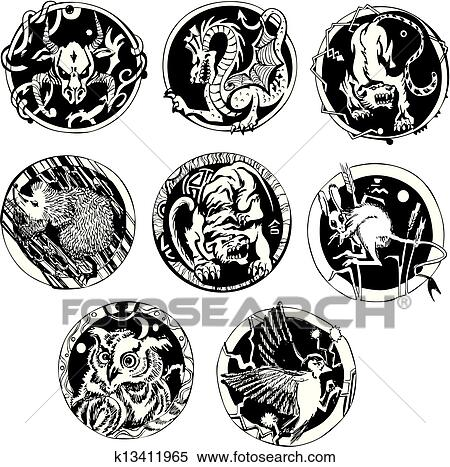 501f125dde0a1 Round tattoos with animals Clipart | k13411965 | Fotosearch