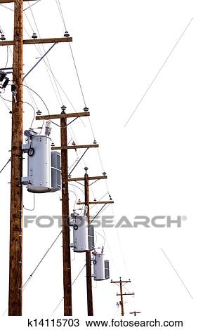 Row of power pole transformers isolated on white Stock Image