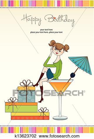 carte anniversaire jeune fille Séduisant, jeune fille, séance, bord, de, a, verre., charmant