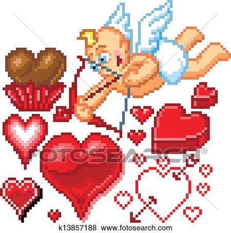 Saint Valentin Themed Pixel Art Clipart