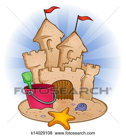 clip art of sand castle beach cartoon k14029108 search clipart rh fotosearch com sandcastle clipart black and white beach sandcastle clipart