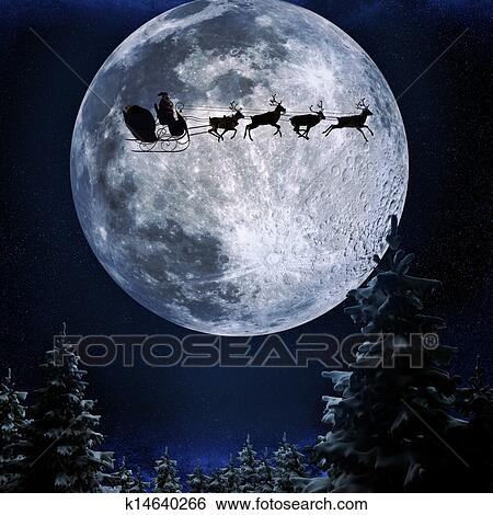 stock illustration of santa flying in his sleigh k14640266 search