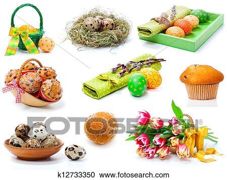 Stock Fotografie Satz Von Tulpen Malen Ostereierbilder