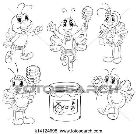 Clip Art Scarabocchiare Disegno Di Api K14124698 Cerca
