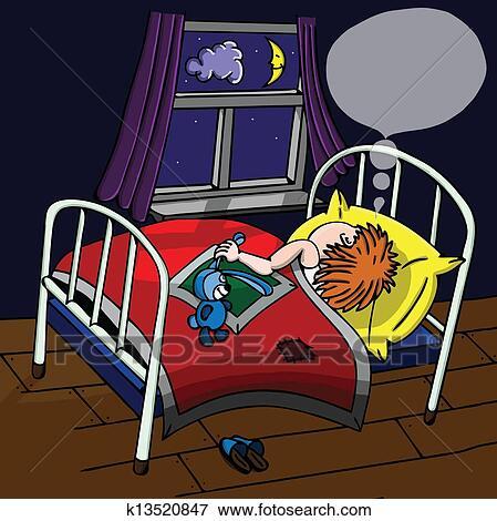 Stock Illustration Schlafenden Kind In Dass Kinderbett Nacht