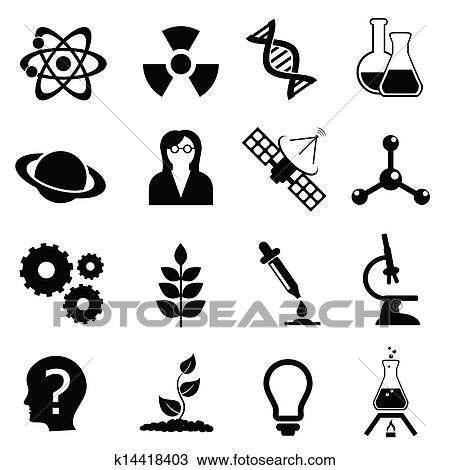 Clipart Of Science Biology Physics And Chemistry Icon Set