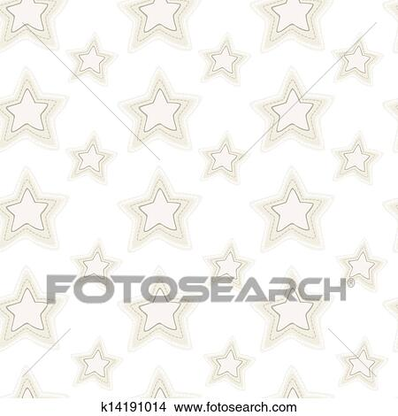 Clipart Of Seamless Pattern Of Stars With Hand Embroidered Stitches