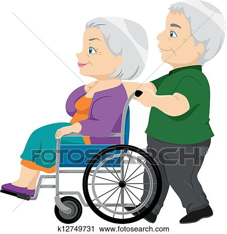 clipart of senior couple with the old lady on the wheelchair rh fotosearch com old married couple clipart funny old couple clipart