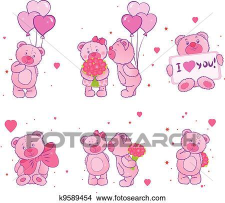 Clipart Set Di Orsi Teddy Con Cuori K9589454 Cerca Clipart