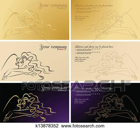 Clipart Of Set Of Business Cards Cosmetic And Healthcare Services