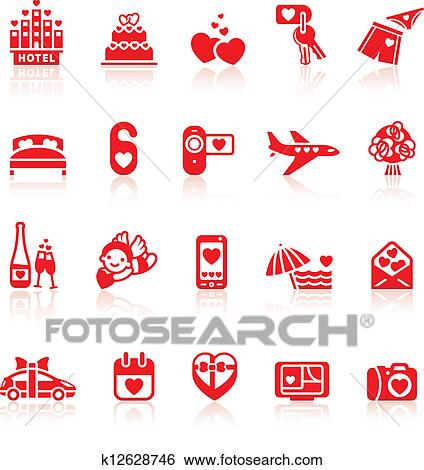 Clip Art Of Set Valentine S Day Red Icons Romantic Travel Symbols