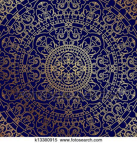 Sfondo Blu Con Oro Ornamento Clipart K13380915 Fotosearch